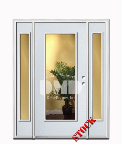 1 Lite Clear Glass Steel Exterior Door with Sidelite 6-8