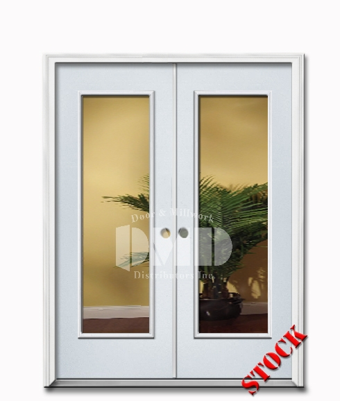1 Lite Clear Glass Steel Exterior Double Door 6-8