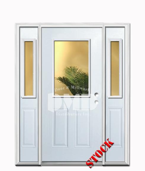 1 Lite Half Clear Glass Steel Exterior Door With Sidelites 6 8