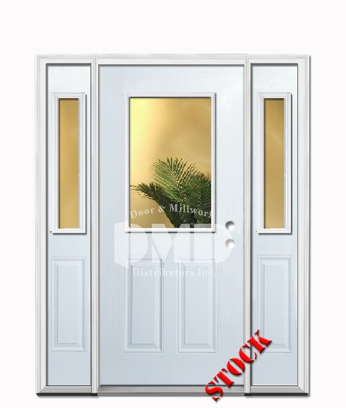 1 Lite Half Clear Glass Steel Exterior Door with Sidelites 6-8