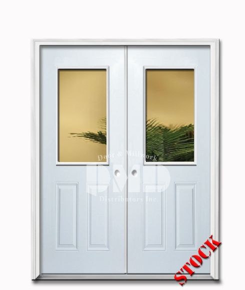 1 Lite Half Clear Glass Steel Exterior Double Door 6-8