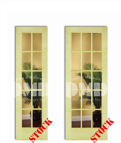 10 15 Lite French Clear Glass Poplar 6 8 Quot 80 Quot Door