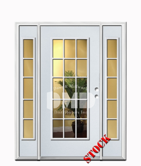 15 Lite Clear Glass Steel Exterior Door with Sidelites 6-8