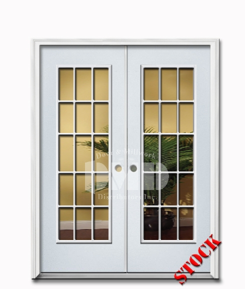 15 Lite Clear Glass Steel Exterior Double Door 6-8