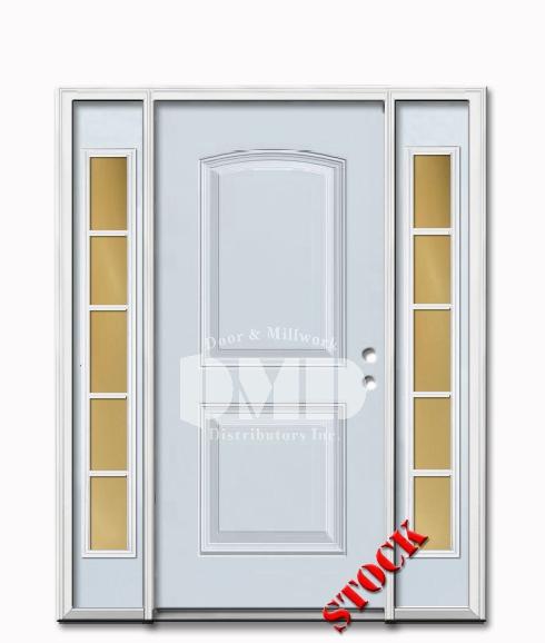 2 Panel Arch Steel Exterior Door with Sidelites 6-8