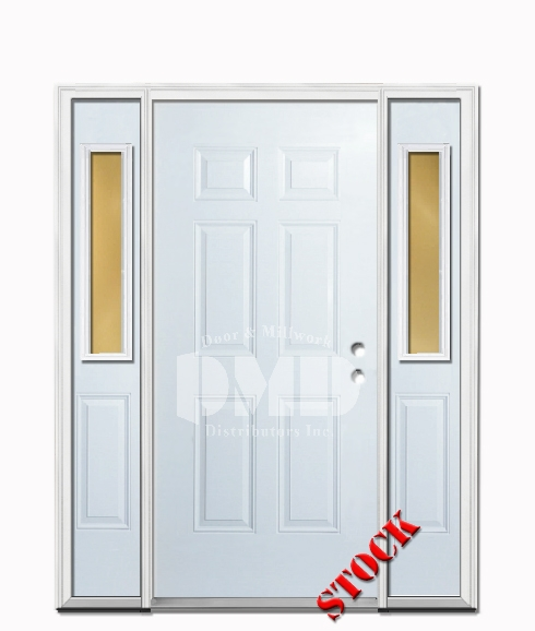 6 Panel Steel Exterior Door with Sidelites 6-8