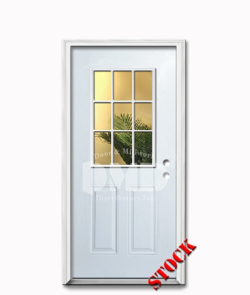 9 lite half clear glass steel exterior door 6 8 door and for Half glass exterior door