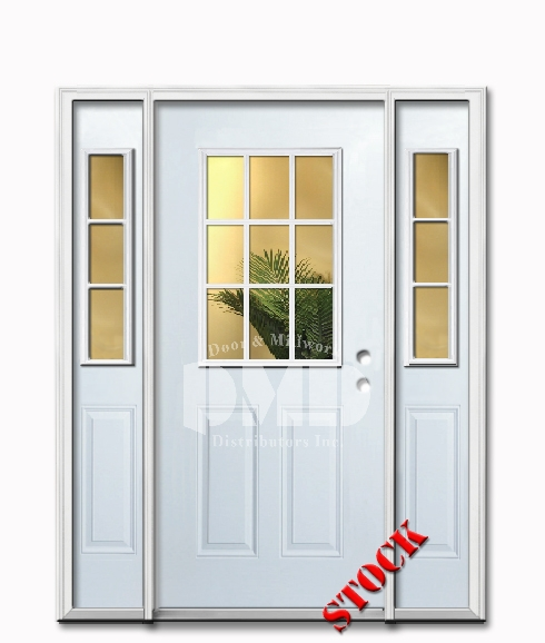 9 Lite Half Clear Glass Steel Exterior Door with Siedlites 6-8