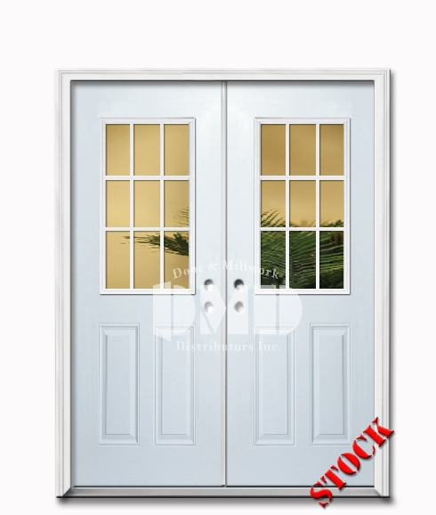 9 Lite Half Clear Glass Steel Exterior Double Door 6-8