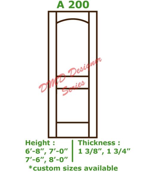 Custom Primed Interior Door, Style A 200