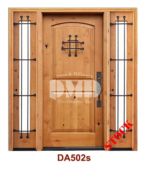 da502s knotty alder 2 panel arch w/speak easy exterior door dmd chicago wholesale distributor