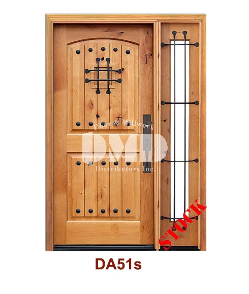 DA51s Knotty Alder 2 Panel Arch w/v-groove, clavos & speak easy door dmd chicago wholesale distributor