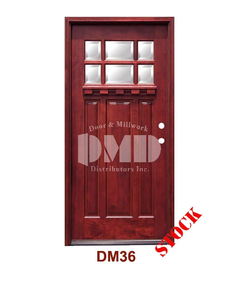 DM36 Mahogany Exterior Six Lite Craftsman with Bevel IG Glass door dmd chicago wholesale distributor