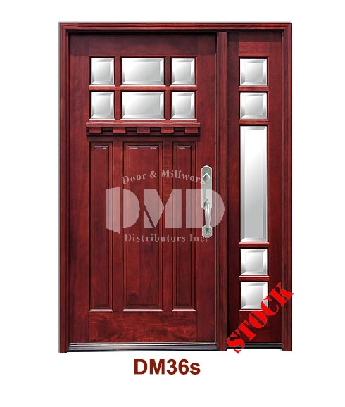 DM36s Mahogany Exterior Six Lite Craftsman with Bevel IG Glass door dmd chicago wholesale distributor
