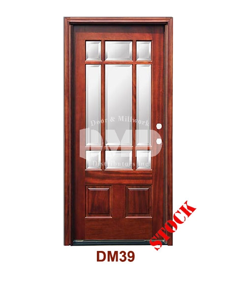 DM39 Mahogany Exterior Nine Lite Craftsman with Bevel IG Glass door dmd chiago wholesale distributor