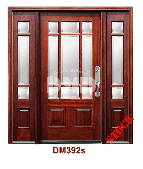 DM392s Mahogany Exterior Nine Lite Craftsman with Bevel IG Glass door dmd chicago wholeale distributor