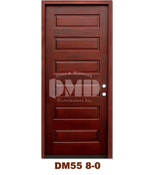 DM55 6 Panel Contemporary Exterior Wood Mahogany Door 8-0