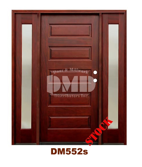 DM552s 5 Panel Contemporary Exterior Wood Mahogany Door