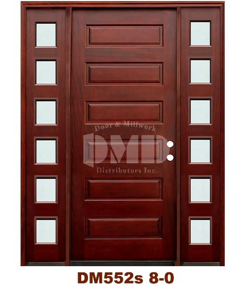Dm552s 6 Panel Contemporary Mist Glass Exterior Wood Mahogany Door 8