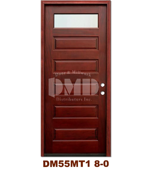 DM55MT1 1 Lite Contemporary Mist Glass Exterior Wood Mahogany Door 8-0