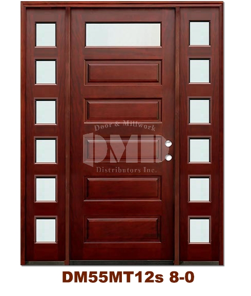 Dm55mt12s 1 Lite Contemporary Mist Glass Exterior Wood Mahogany Door 8 0 Door And Millwork