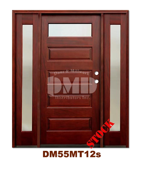 DM55MT12s 1 Lite Contemporary Mist Glass Exterior Wood Mahogany Door