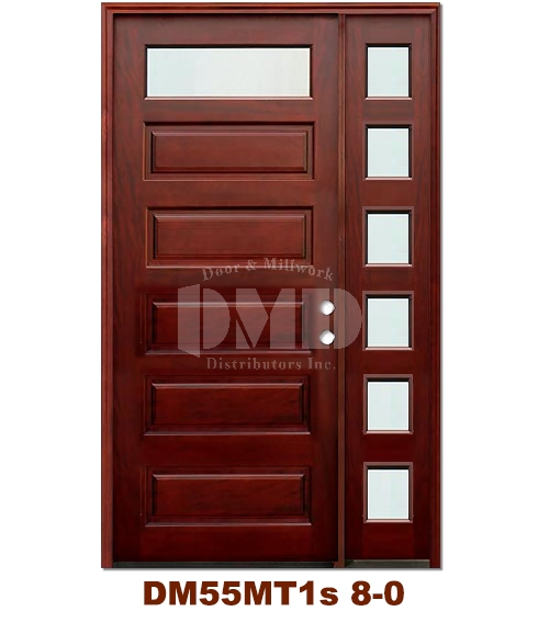DM55MT1s 1 Lite Contemporary Mist Glass Exterior Wood Mahogany Door 8-0