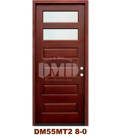 DM55MT2 2 Lite Contemporary Mist Glass Exterior Wood Mahogany Door 8-0