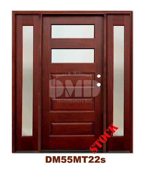 DM55MT22s 2 Lite Contemporary Mist Glass Exterior Wood Mahogany Door