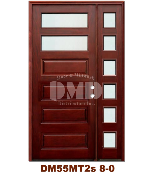 DM55MT2s 2 Lite Contemporary Mist Glass Exterior Wood Mahogany Door 8-0
