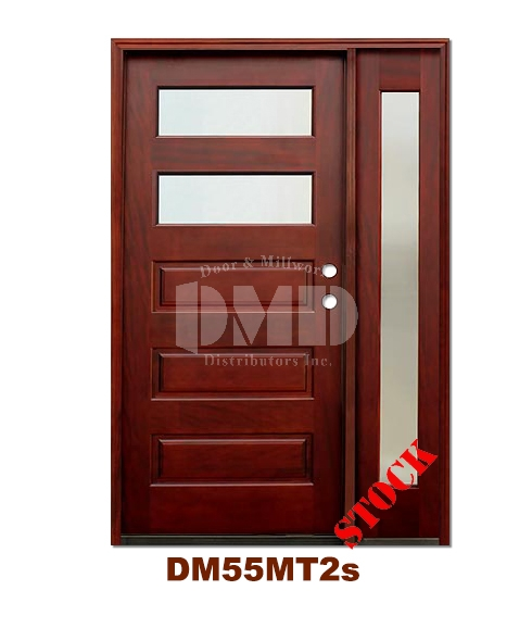 DM55MT2s 2 Lite Contemporary Mist Glass Exterior Wood Mahogany Door