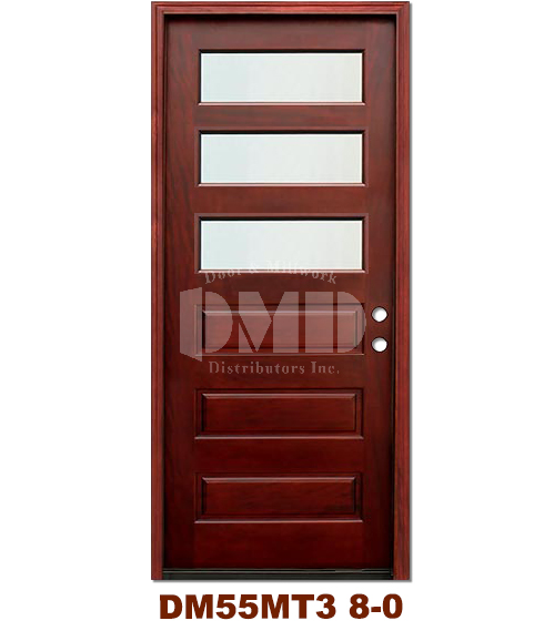 Dm55mt3 3 Lite Contemporary Mist Glass Exterior Wood Mahogany Door 8 0 Door And Millwork