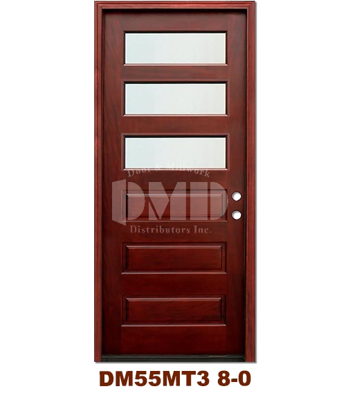 DM55MT3 3 Lite Contemporary Mist Glass Exterior Wood Mahogany Door 8-0