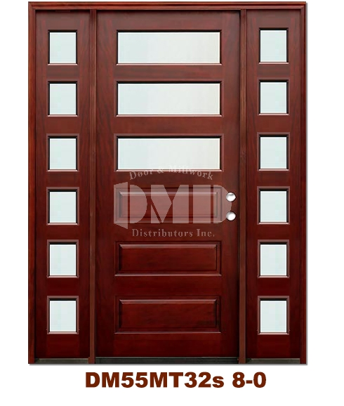 DM55MT32s 3 Lite Contemporary Mist Glass Exterior Wood Mahogany Door 8-0