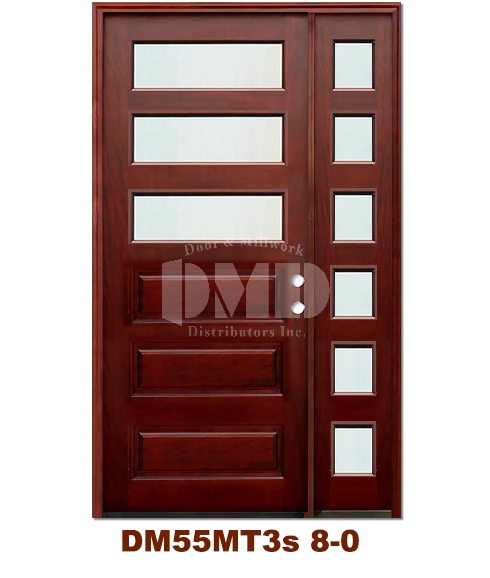 DM55MT3s 3 Lite Contemporary Mist Glass Exterior Wood Mahogany Door 8-0