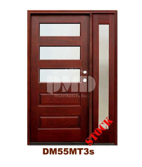 DM55MT3s 3 Lite Contemporary Mist Glass Exterior Wood Mahogany Door