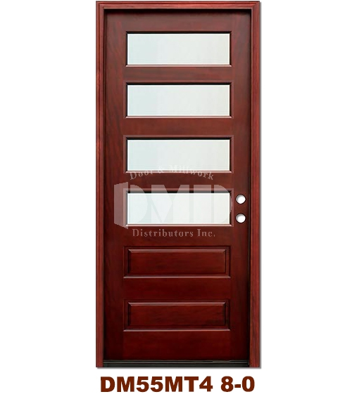 DM55MT4 4 Lite Contemporary Mist Glass Exterior Wood Mahogany Door 8-0