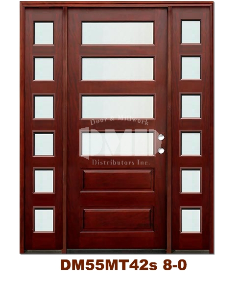 DM55MT42s 4 Lite Contemporary Mist Glass Exterior Wood Mahogany Door 8-0