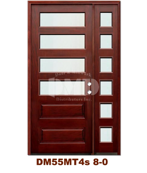 DM55MT4s 4 Lite Contemporary Mist Glass Exterior Wood Mahogany Door 8-0