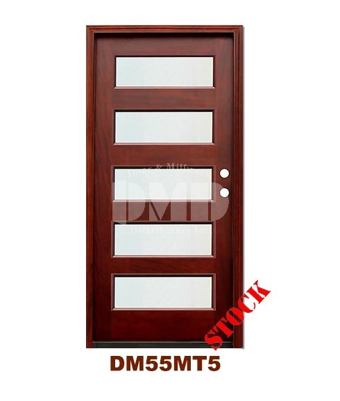 DM55MT5 5 Lite Contemporary Mist Glass Exterior Wood Mahogany Door