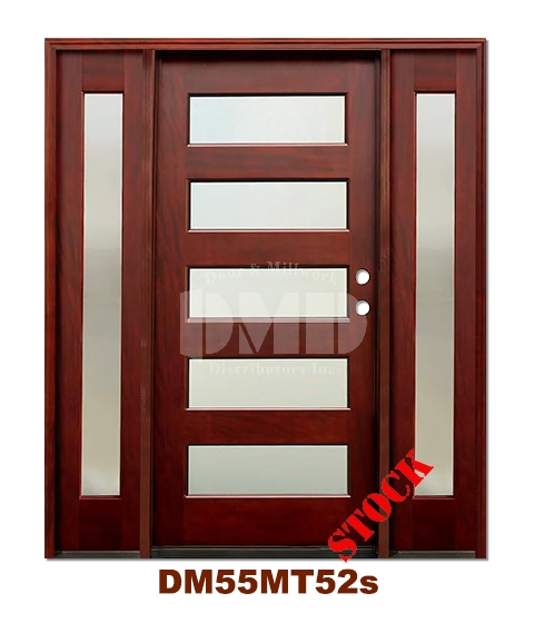 DM55MT52s 5 Lite Contemporary Mist Glass Exterior Wood Mahogany Door