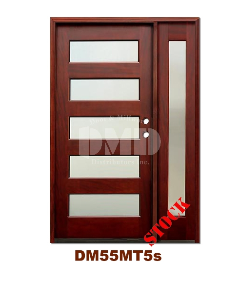 DM55MT5s 5 Lite Contemporary Mist Glass Exterior Wood Mahogany Door
