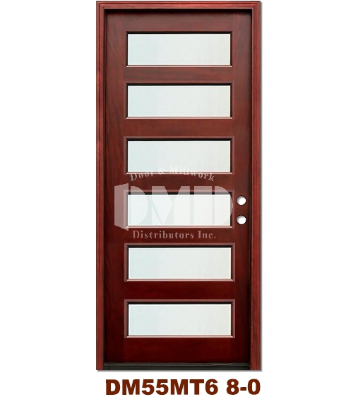 DM55MT6 6 Lite Contemporary Mist Glass Exterior Wood Mahogany Door 8-0