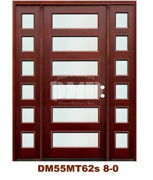 DM55MT62s 6 Lite Contemporary Mist Glass Exterior Wood Mahogany Door 8-0
