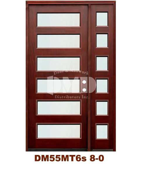 DM55MT6s 6 Lite Contemporary Mist Glass Exterior Wood Mahogany Door 8-0