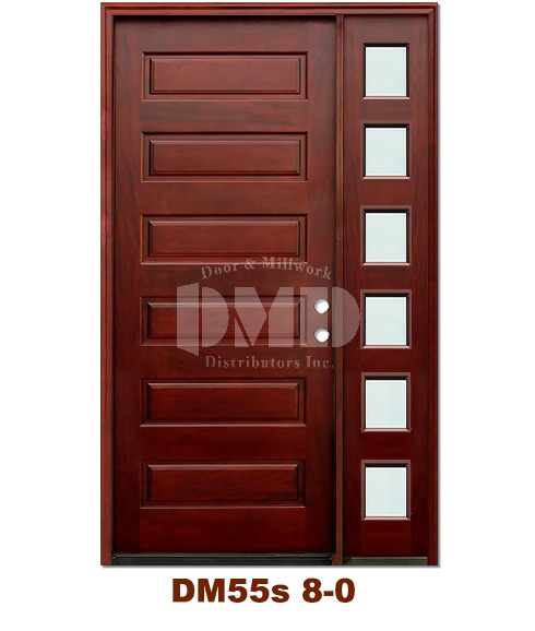 DM55s 6 Panel Exterior Wood Mahogany Door 8-0