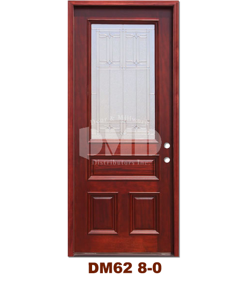 Dm62 Mahogany Exterior 3 4 Arch Lite Diablo Zinc Caming 8 0 Door And Millwork Distributors Inc