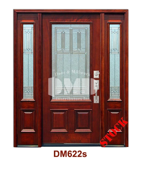 DM622s Mahogany Exterior 3/4 Square Lite Diablo Zinc Caming exterior door dmd chicago wholesale distributor