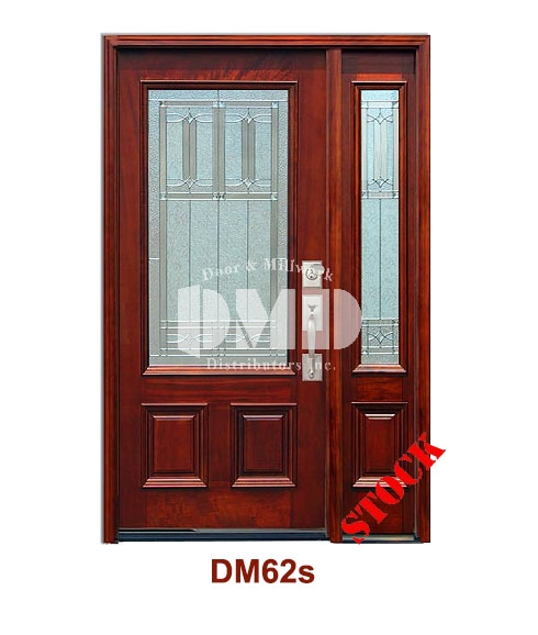DM62s Mahogany Exterior 3/4 Square Lite Diablo Zinc Caming door dmd chicago wholesale distributor