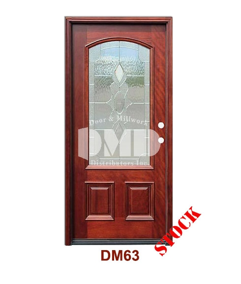 DM63 Mahogany Exterior 3/4 Arch Lite Strathmore Zinc Caming exterior door dmd chicago wholesale distributor